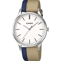Casio - Montre mixte bracelet cuir bicolore beige et bleu Casio Collection (mtp-e133l-7eef)