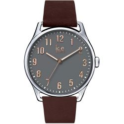 Ice Watch - Montre mixte taupe et dorée rose bracelet cuir marron Ice Time (013046)