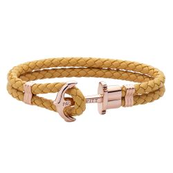 Paul Hewitt - Bracelet double cuir moutarde ancre dorée rose Phrep (ph-ph-l-r-ca)
